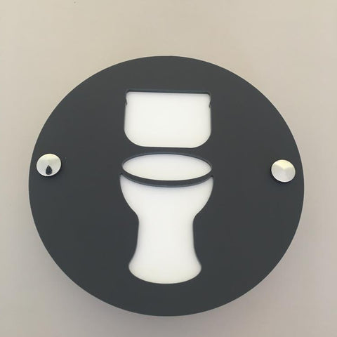 Round Toilet Sign - Graphite & White Mat Finish