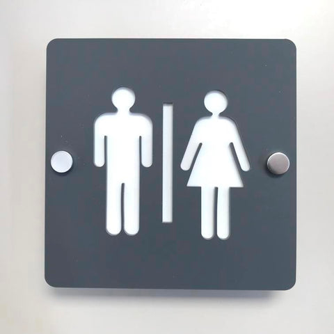 Square Male & Female Toilet Sign - Graphite Grey & White Finish
