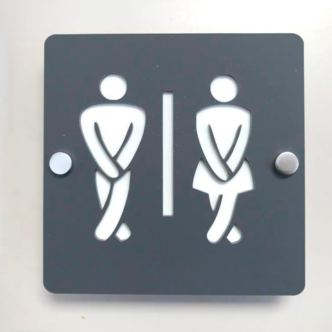 Square Crossed Legged Male & Female Toilet Sign - Graphite Grey & White Finish