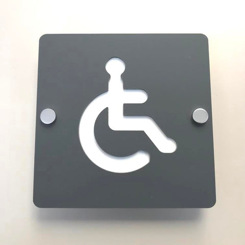 Square Disabled Toilet Sign - Graphite Grey & White Finish