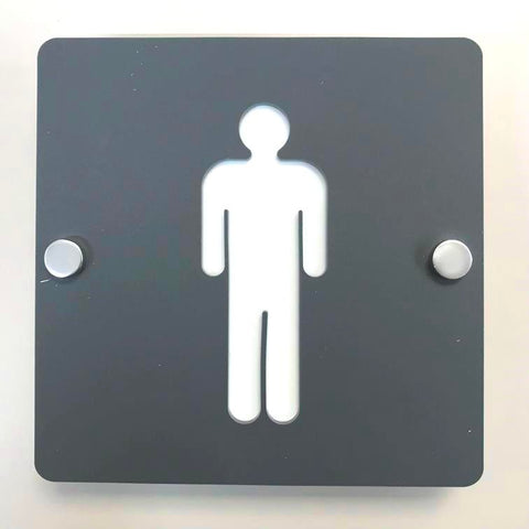 Square Male Toilet Sign - Graphite Grey & White Finish