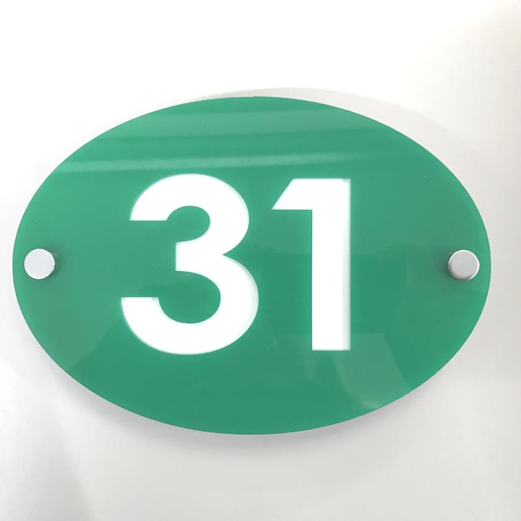Oval House Number Sign - Green & White Gloss Finish