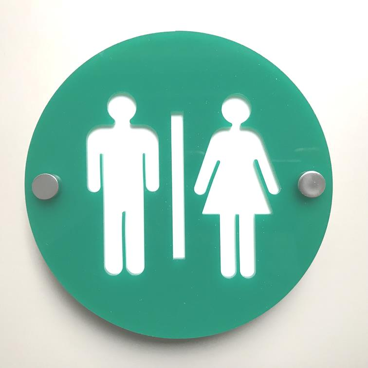Round Male & Female Toilet Sign - Green & White Gloss Finish
