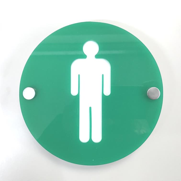 Round Male Toilet Sign - Green & White Gloss Finish