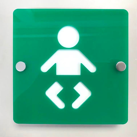 Square Baby Changing Toilet Sign - Green & White Gloss Finish