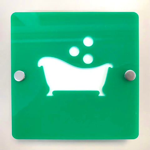 "Square Bathroom ""Bath & Bubbles"" Sign - Green & White Gloss Finish"
