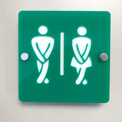 Square Crossed Legged Male & Female Toilet Sign - Green & White Finish