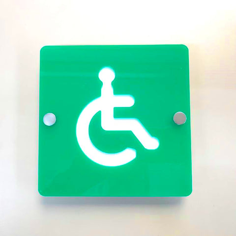 Square Disabled Toilet Sign - Green & White Gloss Finish