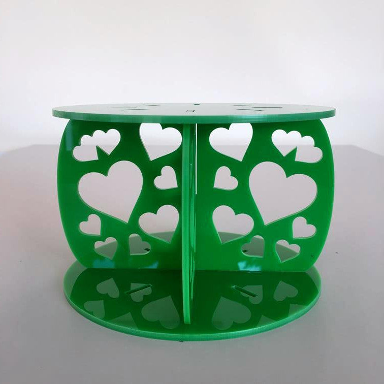 Heart Design Round Wedding/Party Cake Separator - Bright Green