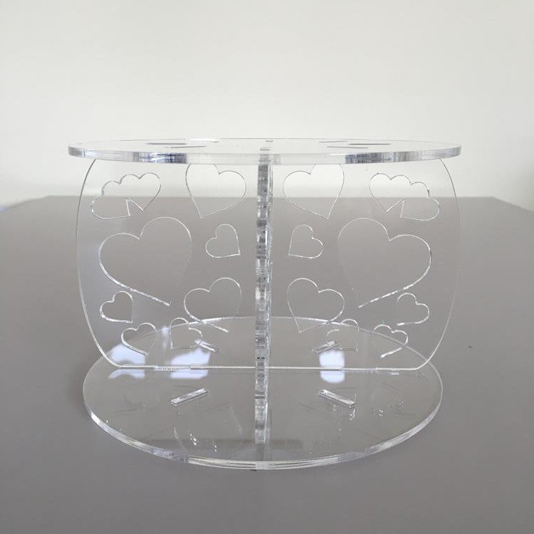 Heart Design Round Wedding/Party Cake Separator - Clear