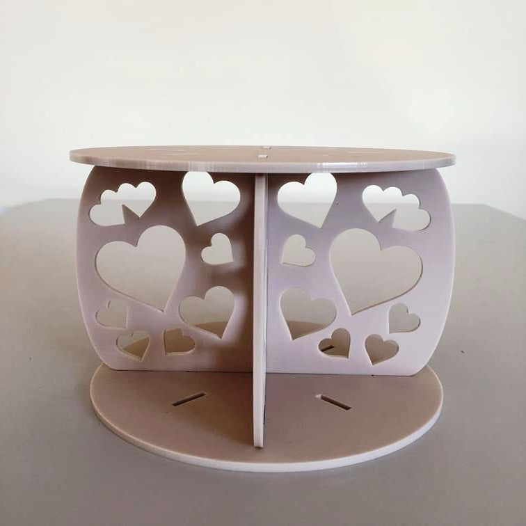 Heart Design Round Wedding/Party Cake Separator - Latte