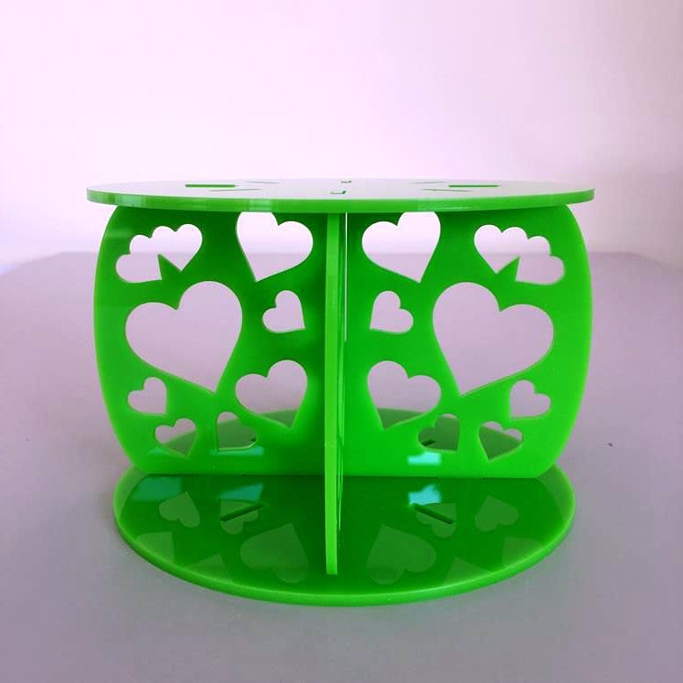 Heart Design Round Wedding/Party Cake Separator - Lime Green