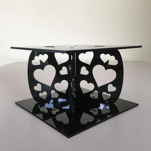 Heart Design Square Wedding/Party Cake Separator - Black