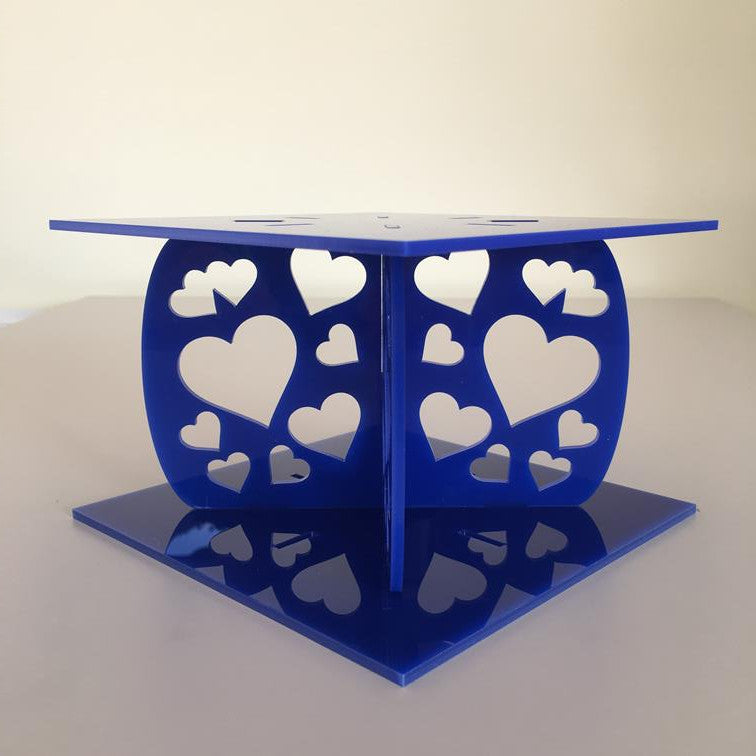 Heart Design Square Wedding/Party Cake Separator - Blue
