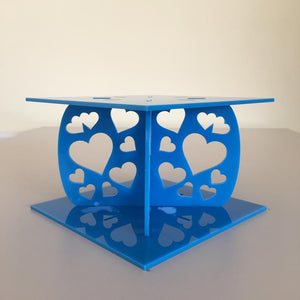 Heart Design Square Wedding/Party Cake Separator - Bright Blue