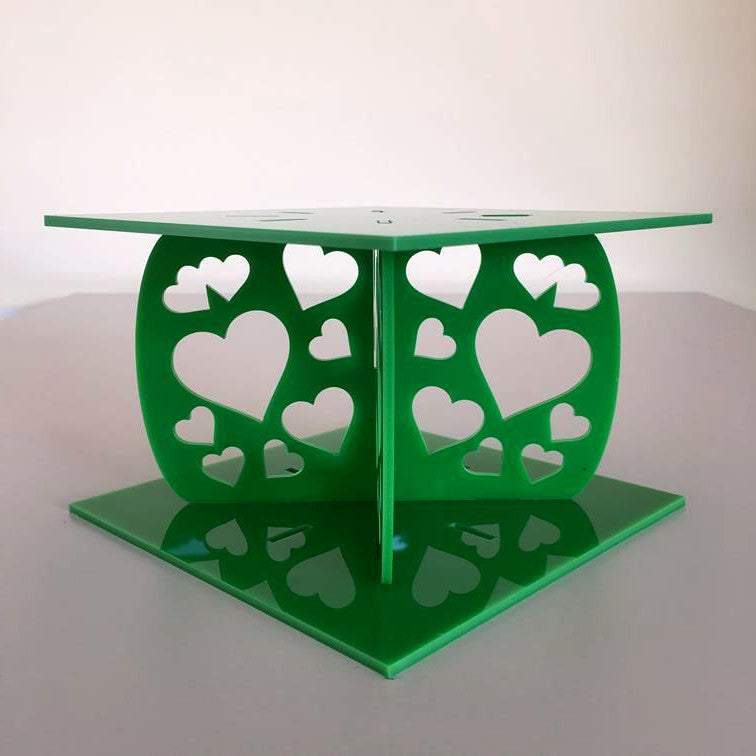 Heart Design Square Wedding/Party Cake Separator - Bright Green