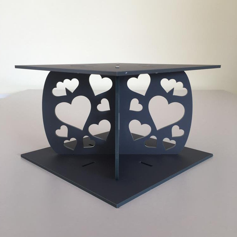 Heart Design Square Wedding/Party Cake Separator - Graphite Grey