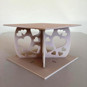 Heart Design Square Wedding/Party Cake Separator - Latte