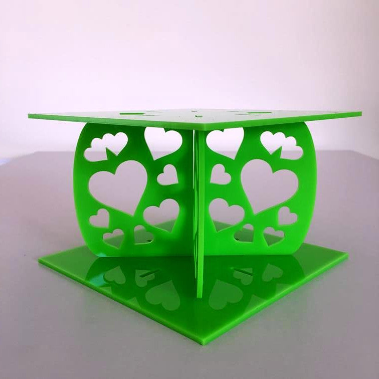 Heart Design Square Wedding/Party Cake Separator - Lime Green