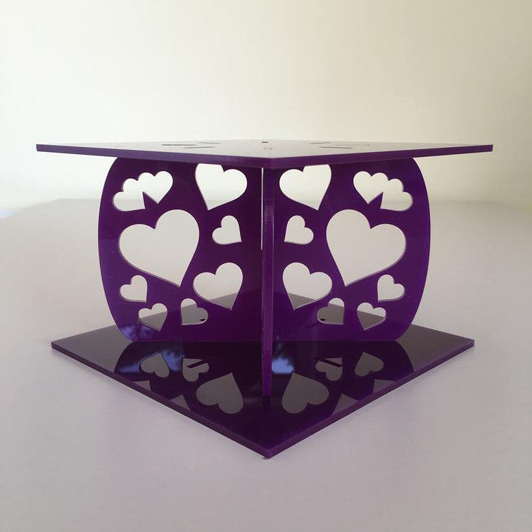 Heart Design Square Wedding/Party Cake Separator - Purple