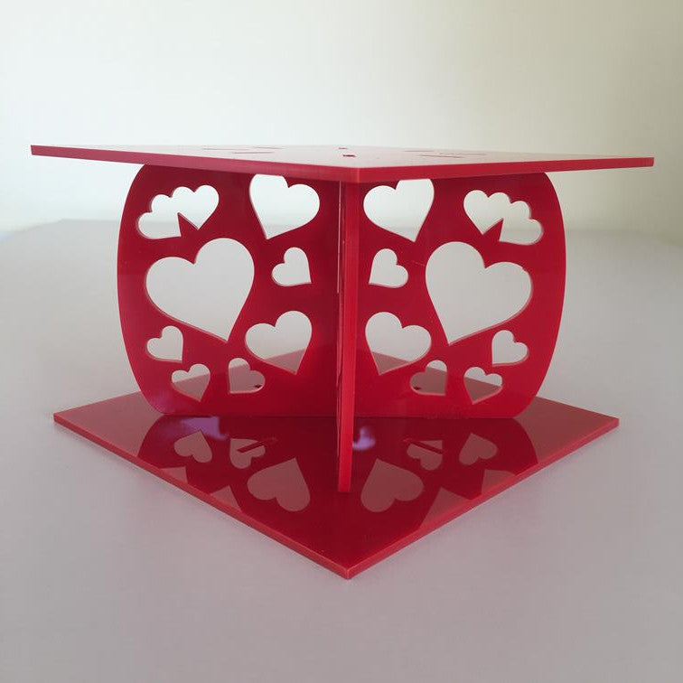 Heart Design Square Wedding/Party Cake Separator - Red
