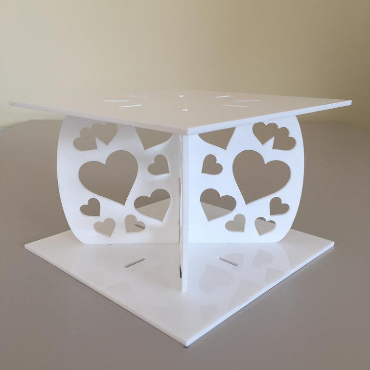 Heart Design Square Wedding/Party Cake Separator - White