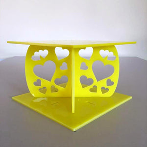 Heart Design Square Wedding/Party Cake Separator - Yellow