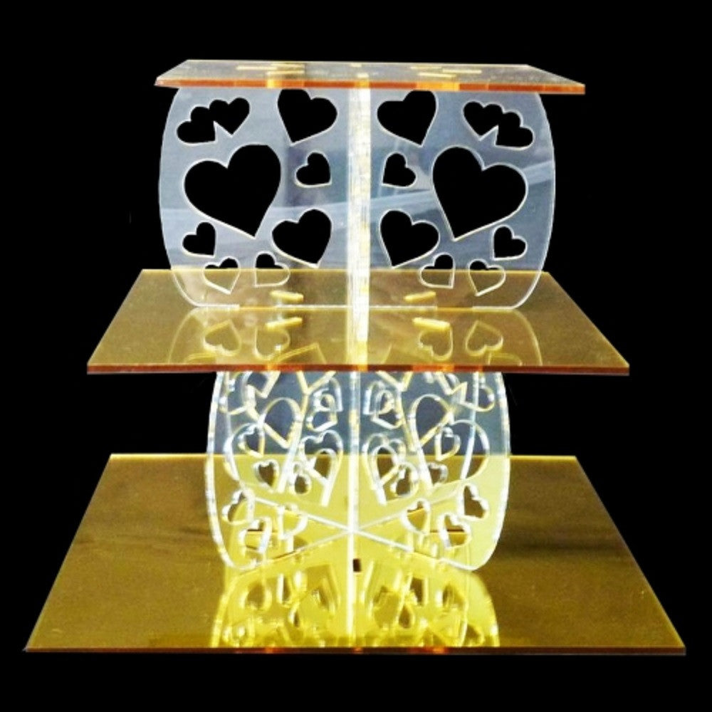 Three Tier Heart Design Square Cake Stand