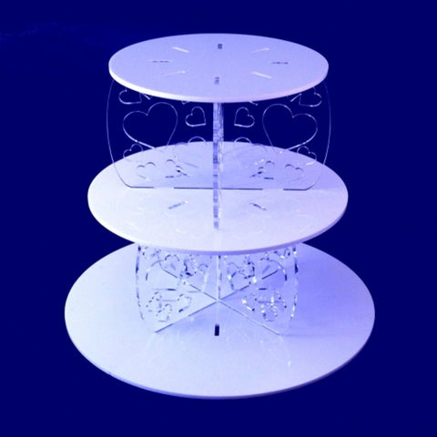 Three Tier Heart Design Round Cake Stand