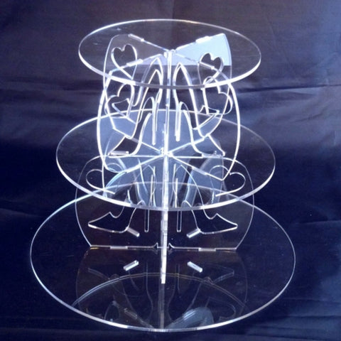 Three Tier High Heel and Heart Design Round Cake Stand