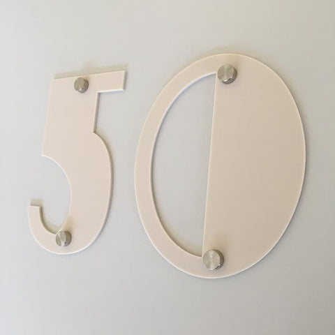 Latte Matt, Drilled Finish, House Numbers - Art Deco