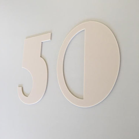 Latte Matt, Flat Finish, House Numbers - Art Deco