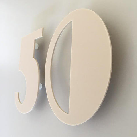 Latte Matt, Floating Finish, House Numbers - Art Deco