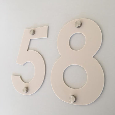 Latte Matt, Drilled Finish, House Numbers - Century Gothic