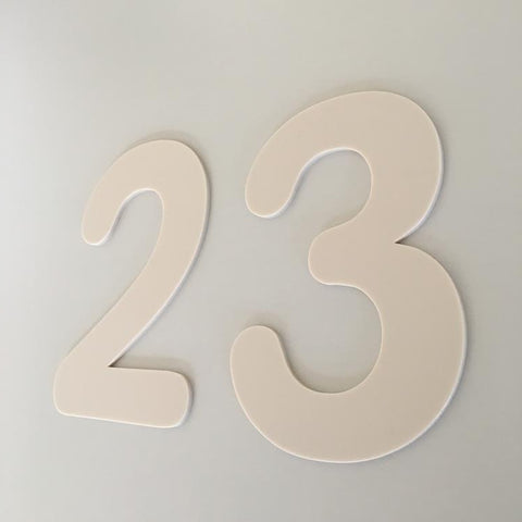 Latte Matt, Flat Finish, House Numbers - Rounded