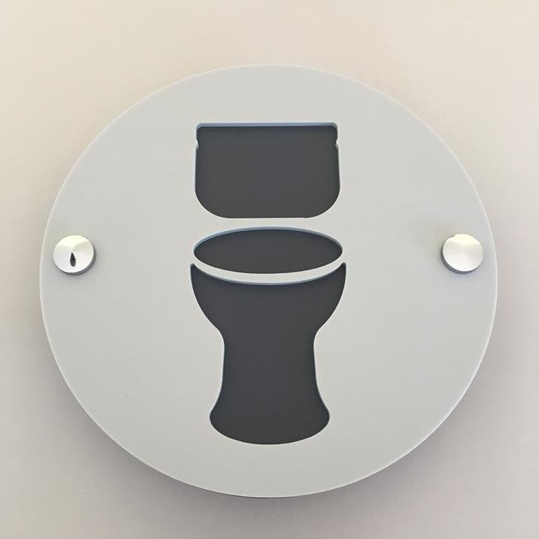 Round Toilet Sign - Light Grey & Graphite Mat Finish