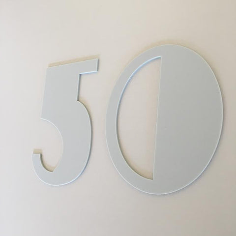 Light Grey Matt, Flat Finish, House Numbers - Art Deco