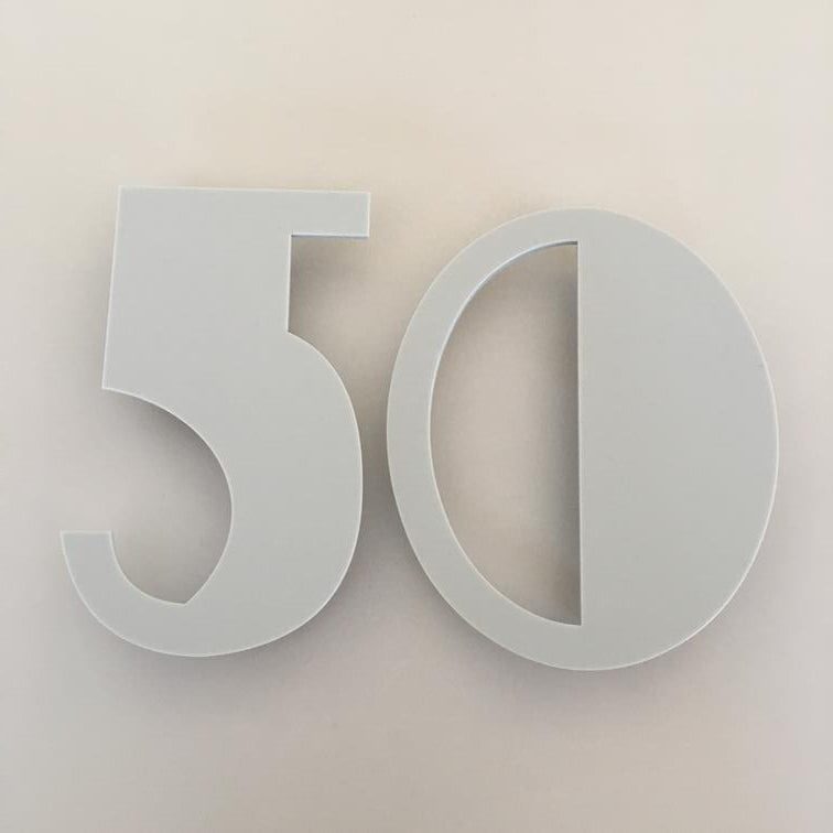 Light Grey Matt, Floating Finish, House Numbers - Art Deco