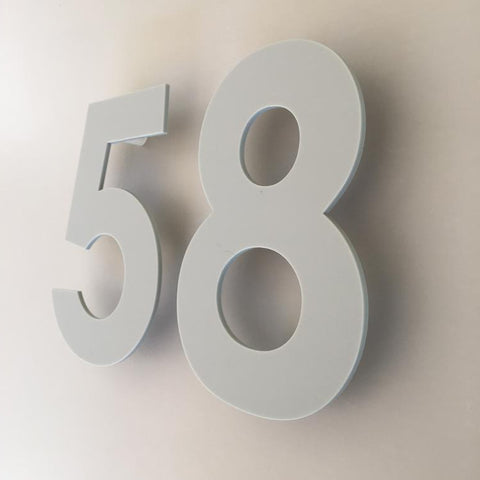Light Grey Matt, Floating Finish, House Numbers - Century Gothic