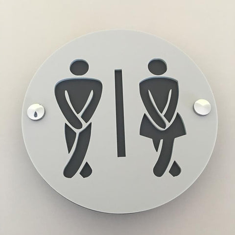 Round Cross Legged Male & Female Toilet Sign - Light Grey & Graphite Mat Finish