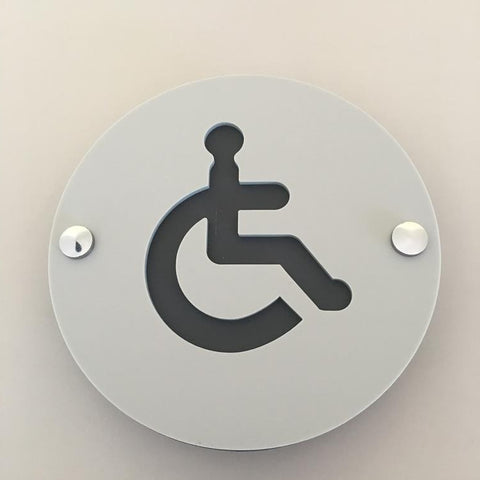 Round Disabled Toilet Sign - Light Grey & Graphite Mat Finish