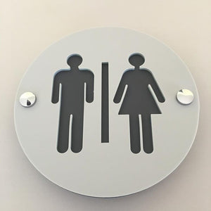 Round Male & Female Toilet Sign - Light Grey & Graphite Mat Finish