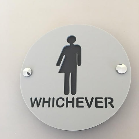 Round Whichever Toilet Sign - Light Grey & Graphite Mat Finish