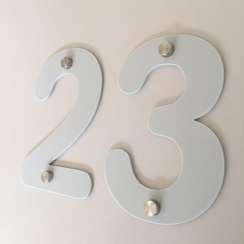 Light Grey Matt, Drilled Finish, House Numbers - Rounded