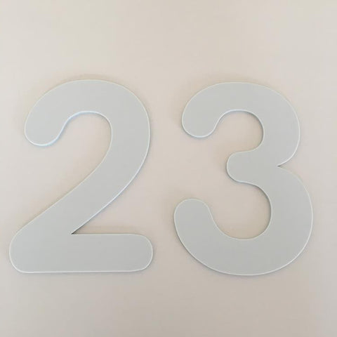 Light Grey Matt, Flat Finish, House Numbers - Rounded