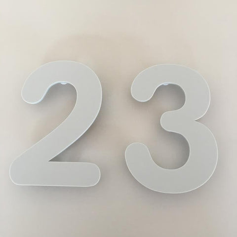 Light Grey Matt, Floating Finish, House Numbers - Rounded