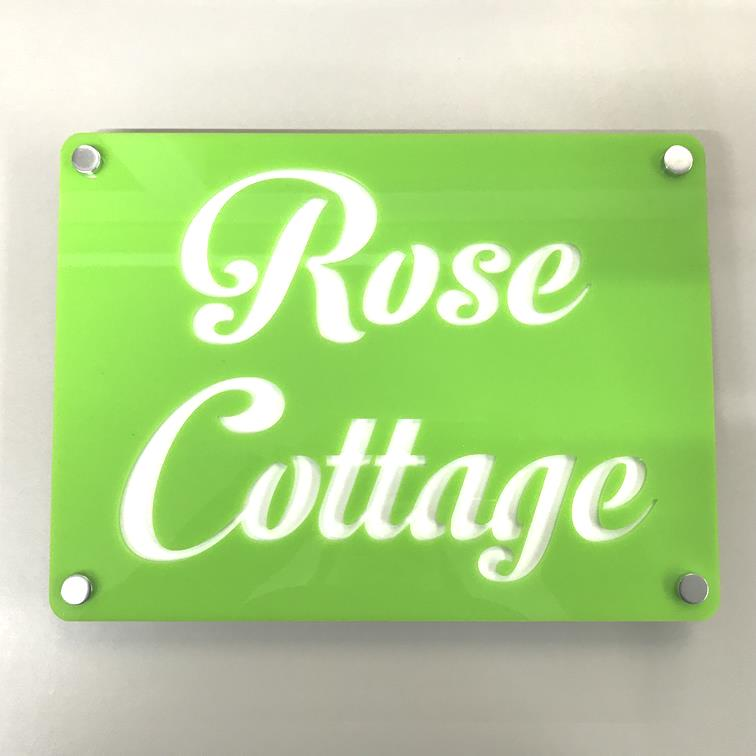 Large Rectangular House Name Sign - Lime Green & White Gloss Finish