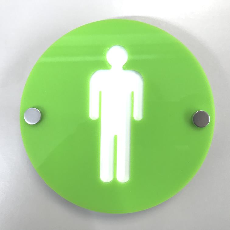 Round Male Toilet Sign - Lime Green & White Gloss Finish