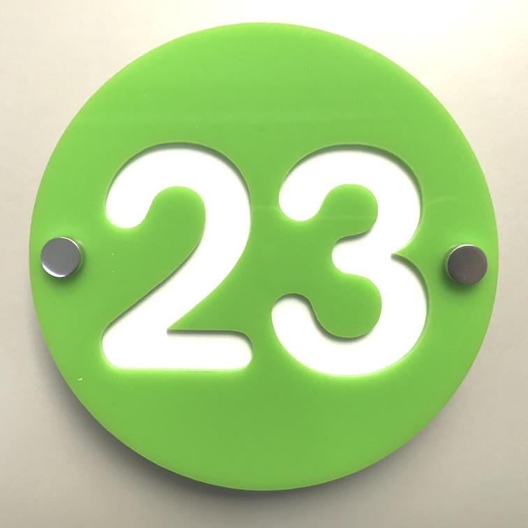Round Number House Sign - Lime Green & White Gloss Finish