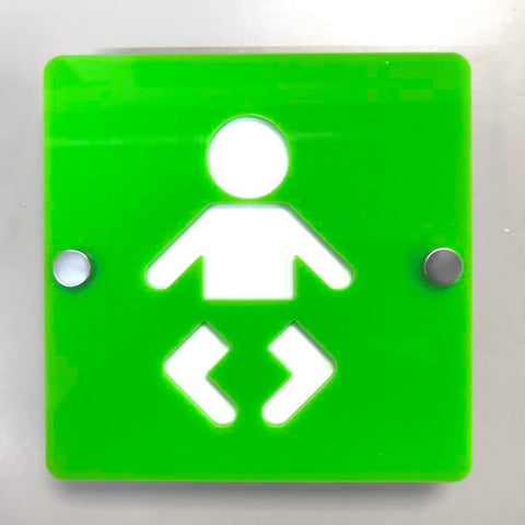 Square Baby Changing Toilet Sign - Lime Green & White Gloss Finish